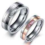 TITANIUM RING Cincin Couple Size 7(F) & 8(M) [GS225] - Silver and Gold & Silver and Black - Cincin